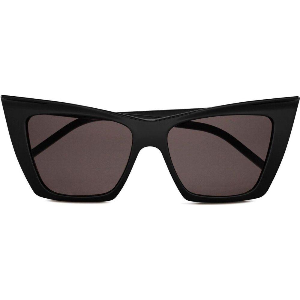 イヴ サンローラン Saint Laurent レディース メガネ・サングラス キャットアイ【Black Acetate Cat-Eye Kate Sunglasses】Black/Black