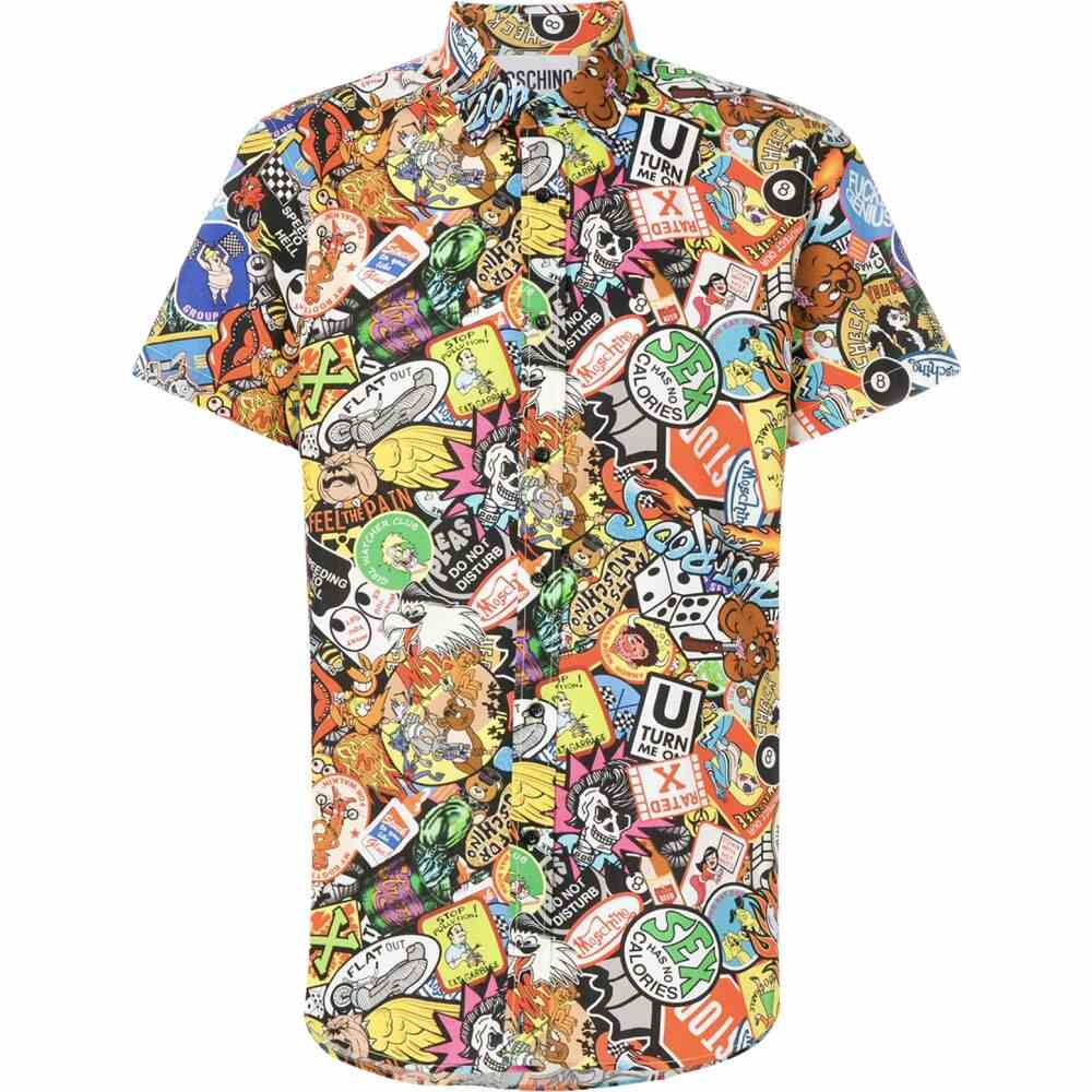 モスキーノ Moschino メンズ 半袖シャツ トップス【Allover Printed Cotton Short Sleeve Shirt】Multicolor