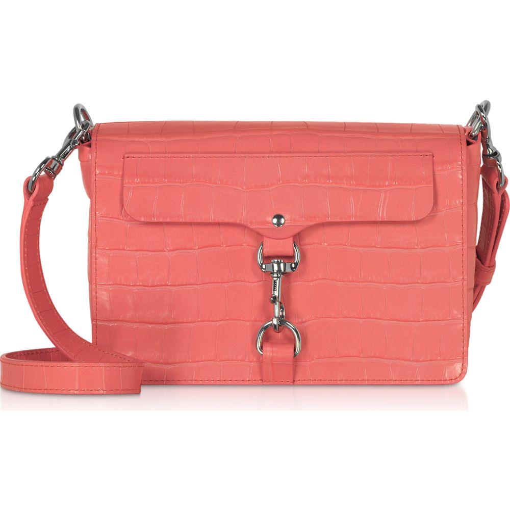 Crossbody】Pink Flap Rebecca Grapefruit ミンコフ レディース Minkoff レベッカ Mab ショルダーバッグ Leather Embossed バッグ【Croco