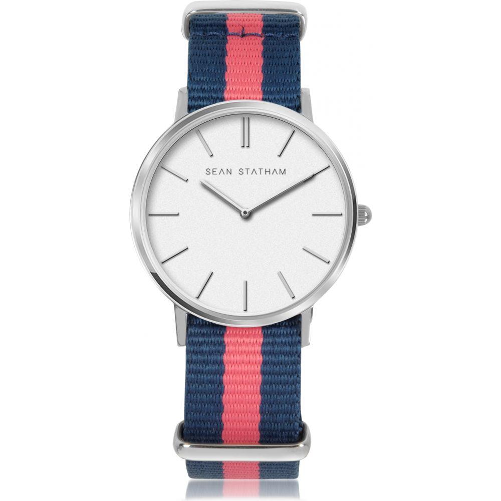 ショーン ステイサム Sean Statham レディース 腕時計 クォーツ式時計【Stainless Steel Unisex Quartz Watch w/Blue and Pink Striped Canvas Band】Blue