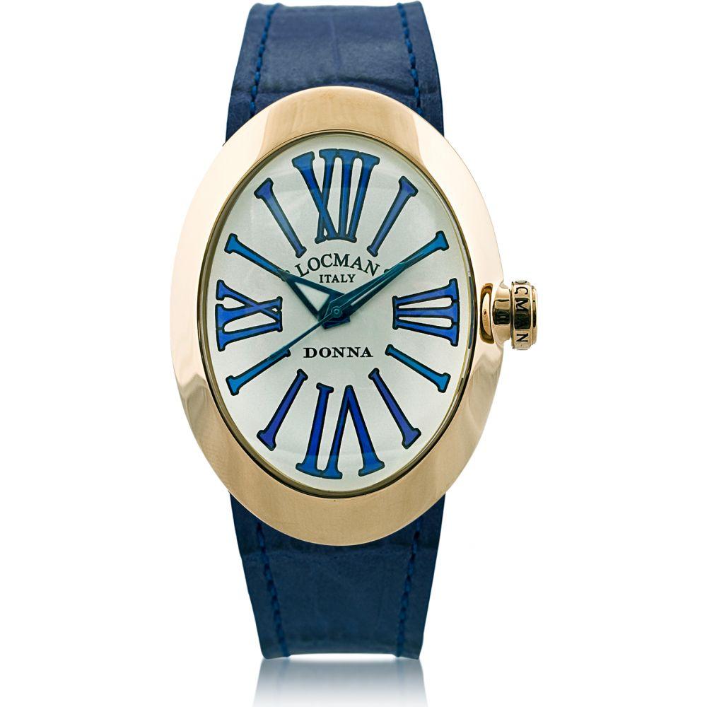 ロックマン Locman レディース 腕時計 【Change Gold Plated Stainless Steel Oval Case Watch w/3 Leather Straps】Blue