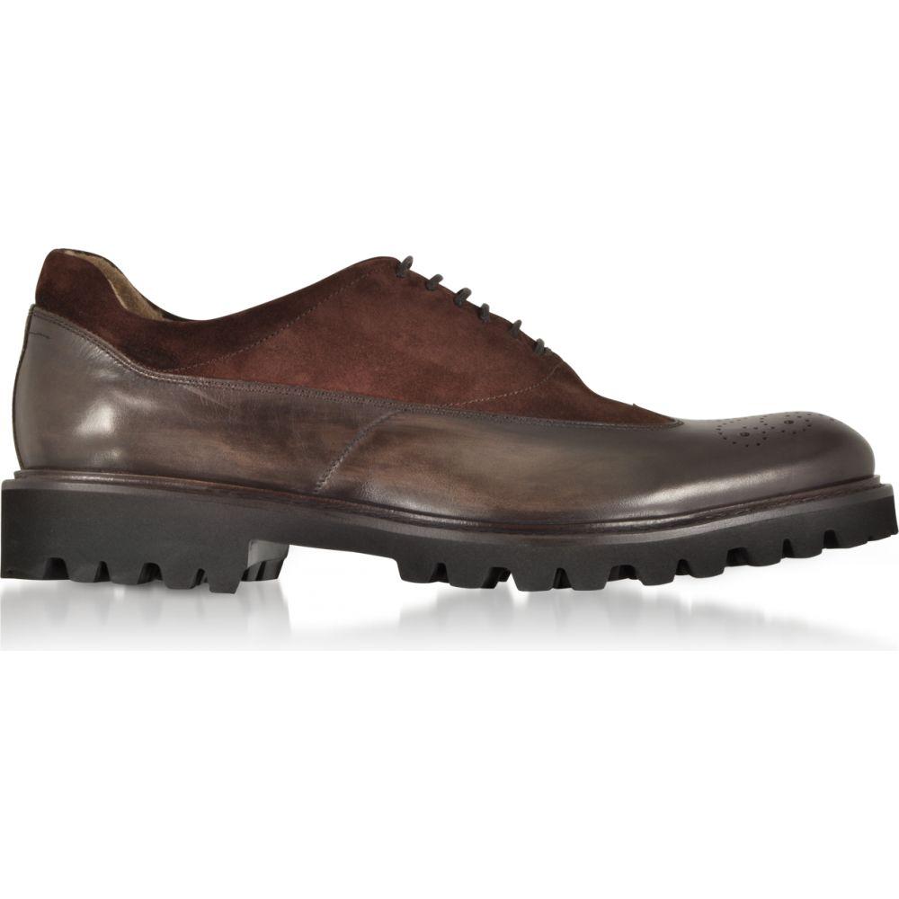 超人気 専門店 フラテッリ ボルジョーリ メンズ シューズ 靴 革靴 ビジネスシューズ サイズ交換無料 Fratelli Shoes Brown Leather Borgioli Suede Ebony 新作アイテム毎日更新 Oxford and