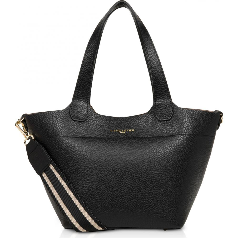 ランカスター Lancaster Paris レディース トートバッグ バッグ【Foulonne Double Black Grained Cow Leather Tote Bag w/Canvas Strap】Black