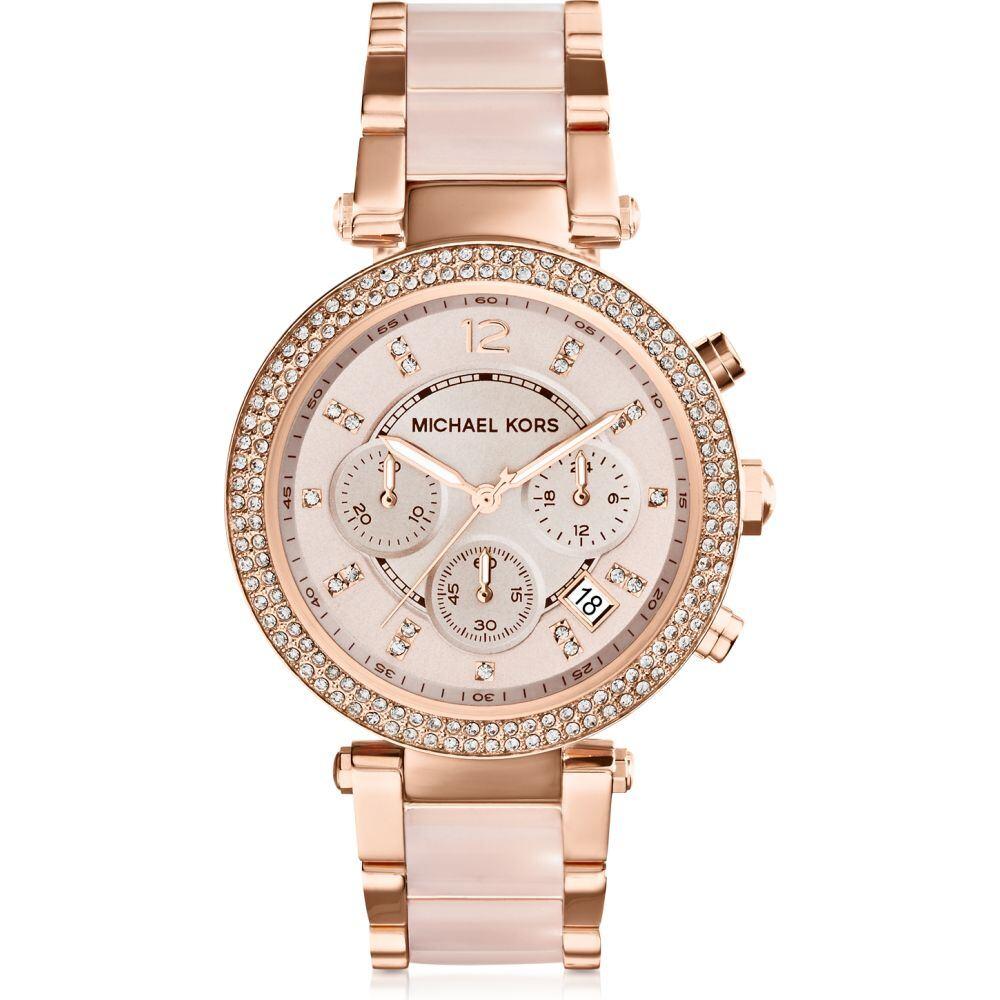 マイケル コース Michael Kors レディース 腕時計 クロノグラフ【Mid-Size Rose Golden Stainless Steel Parker Chronograph Glitz Watch】Pink
