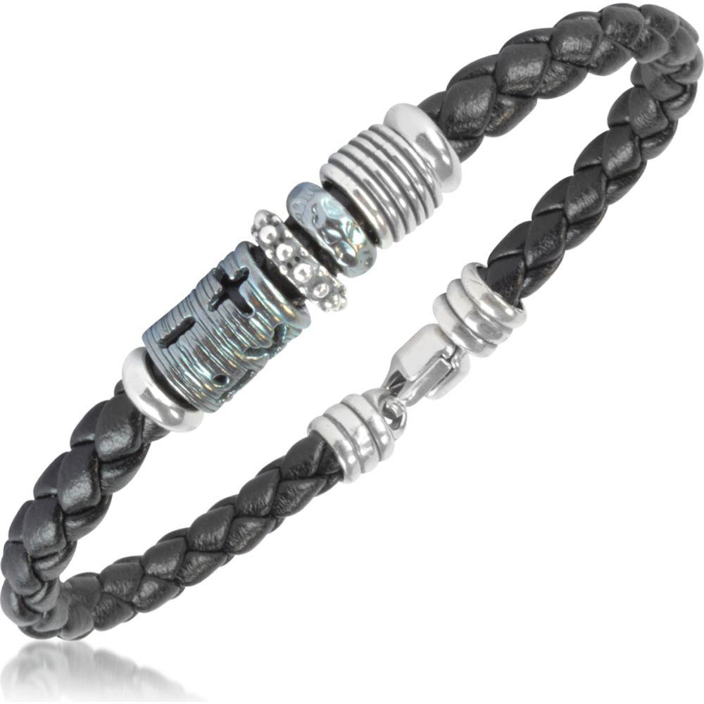 ジュエリー・アクセサリー【Silver Tedora Leather Band Braided メンズ Bracelet】Silver ブレスレット テドラ