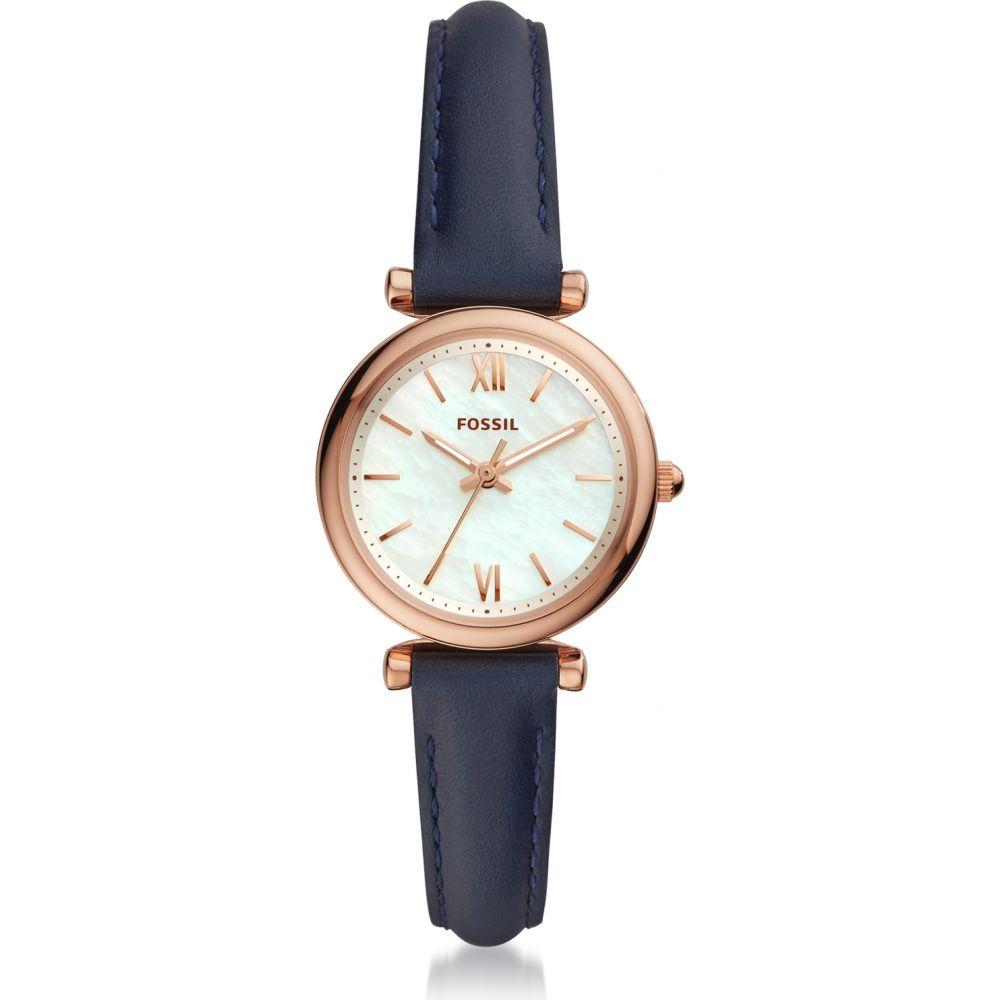 フォッシル Fossil レディース 腕時計 【Carlie Three-Hand Navy Leather Watch】Rose gold