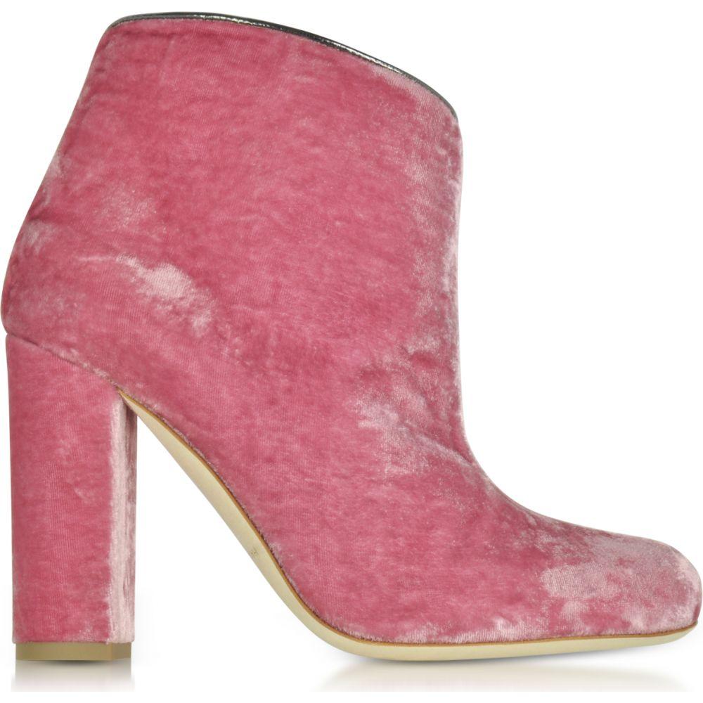 マローンスリアーズ Malone Souliers レディース ブーツ ショートブーツ シューズ・靴【Eula Pink and Charcoal Velvet Ankle Boots】Pink