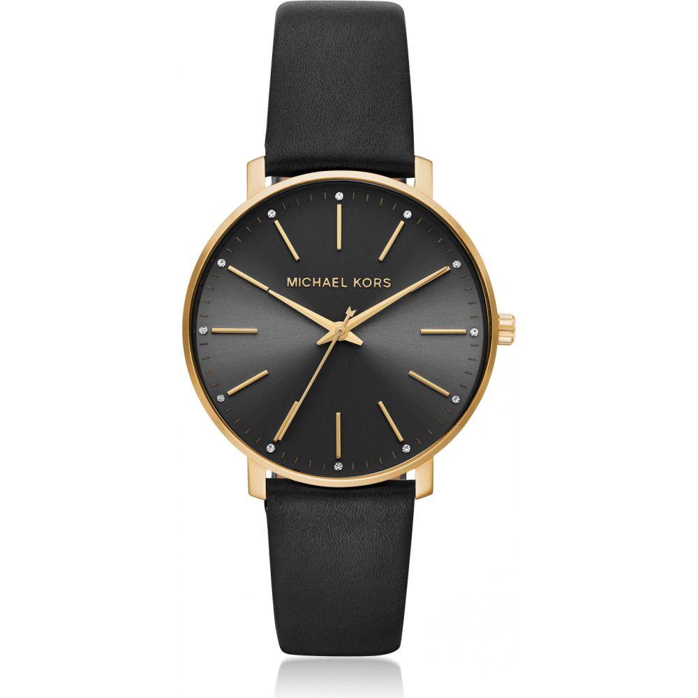 マイケル コース Michael Kors レディース 腕時計 【Pyper Gold Tone and Black Leather Watch】Gold