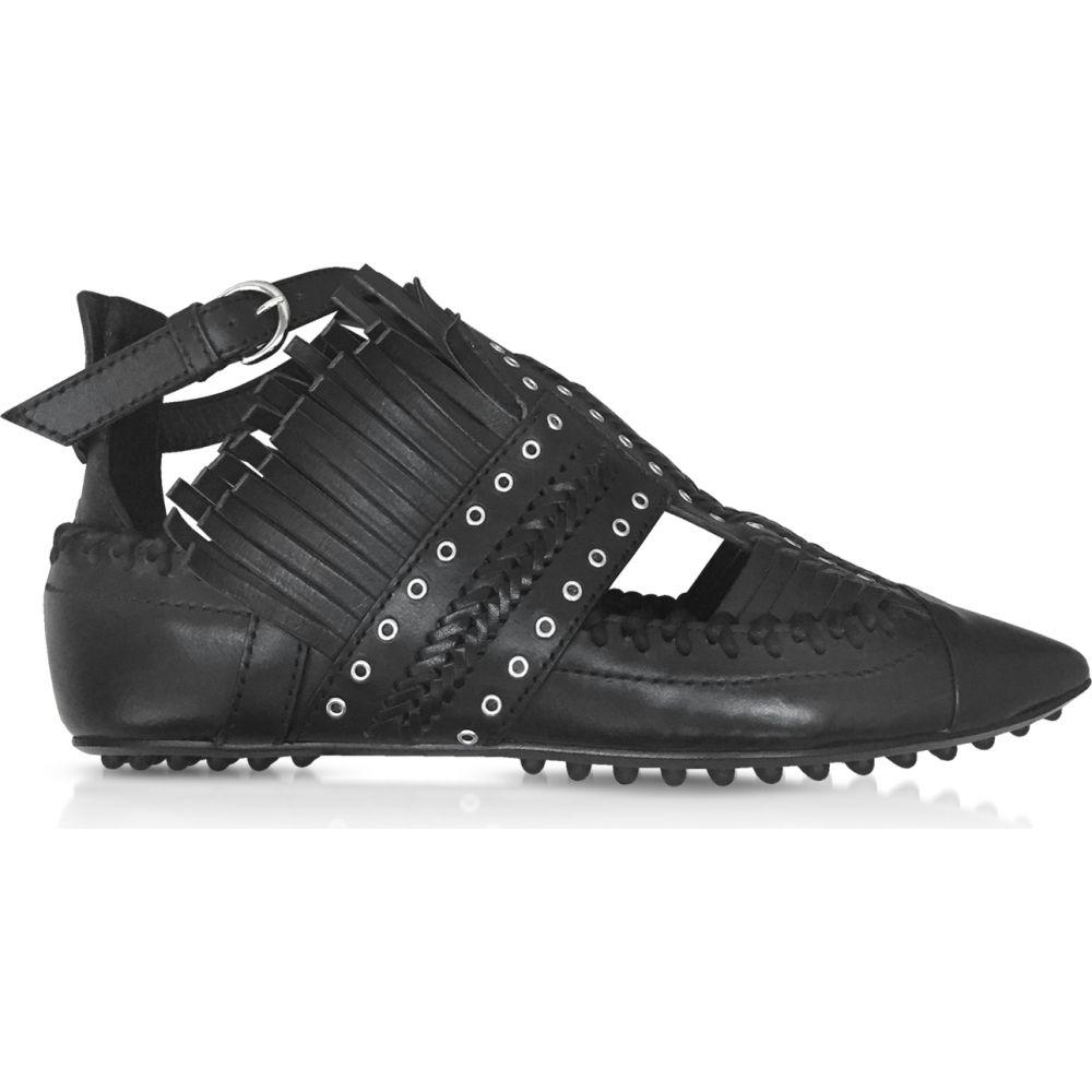 カルヴェン Carven レディース スリッポン・フラット シューズ・靴【Black Fringed Leather Flat Ballerinas】Black