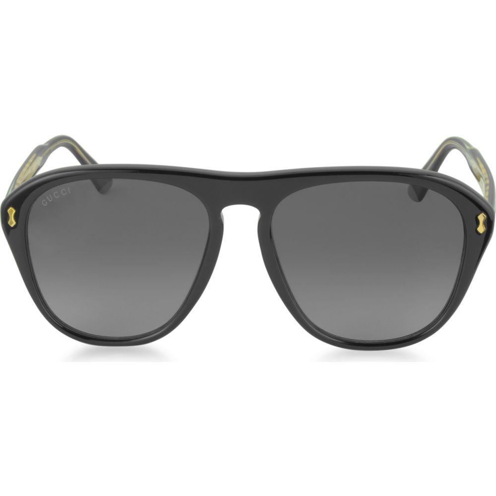 最新 グッチ Gucci メンズ Gucci メガネ メンズ・サングラス Aviator アビエイター【GG0128S 007 Black Acetate Aviator Sunglasses】Black, 伝動機:9cd436dd --- online-cv.site