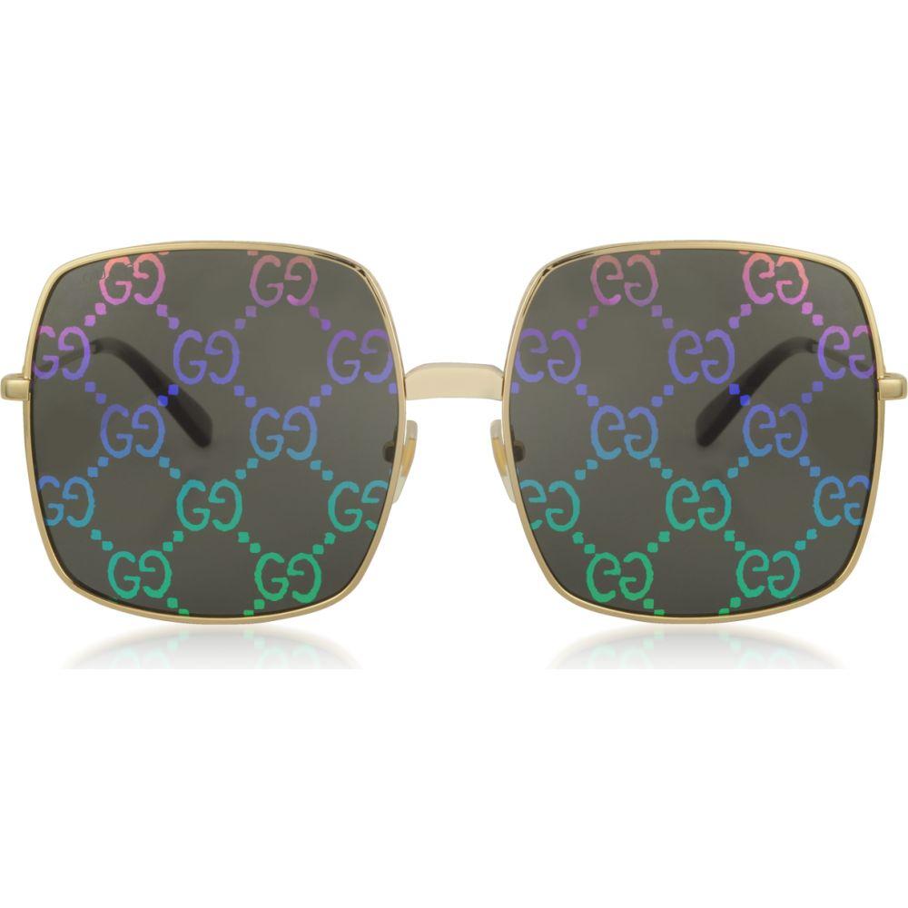 グッチ Gucci レディース メガネ・サングラス 【Rectangular-frame Metal Sunglasses w/ GG Pattern Lenses】Gold