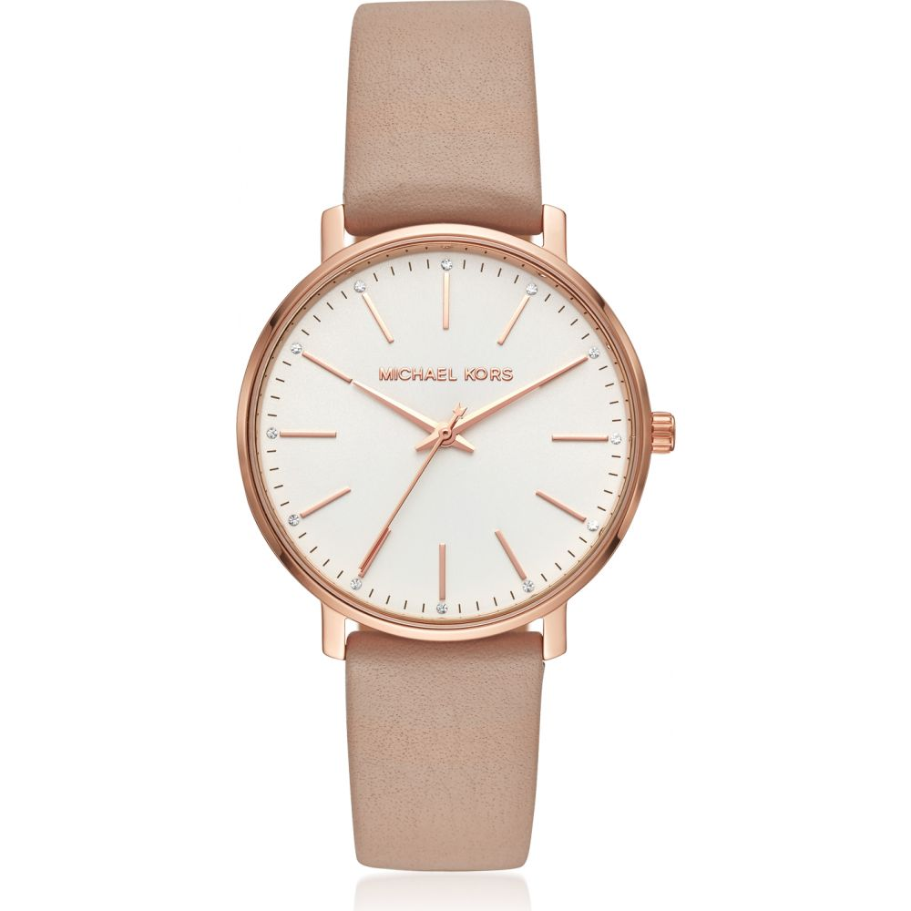 マイケル コース Michael Kors レディース 腕時計 【Pyper Gold Tone and Mocha Leather Watch】Rose gold