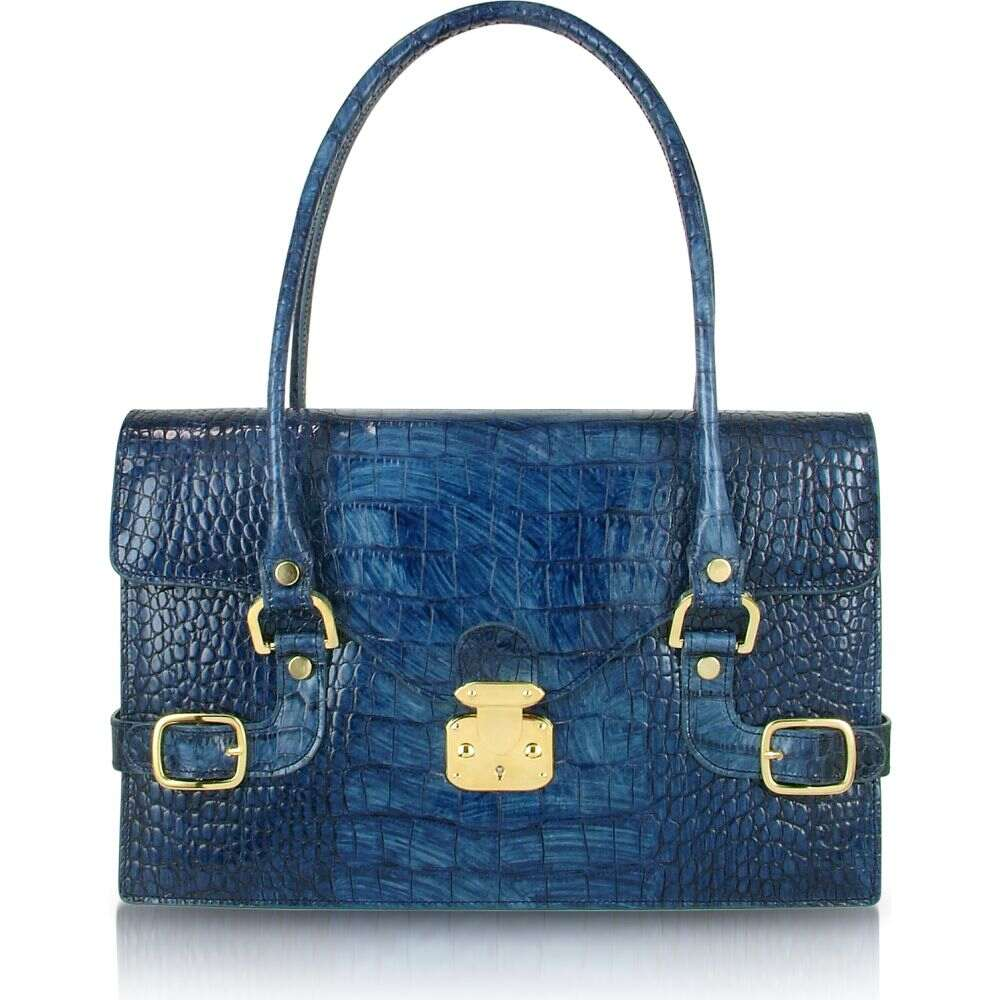 ラパ L.A.P.A. レディース ショルダーバッグ バッグ【Indigo Blue Croco Stamped Italian Leather Shoulder Bag】Indigo
