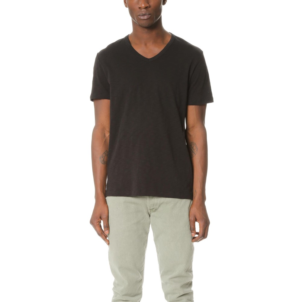 ヴィンス メンズ トップス Tシャツ【Slub Jersey V Neck Tee】Black