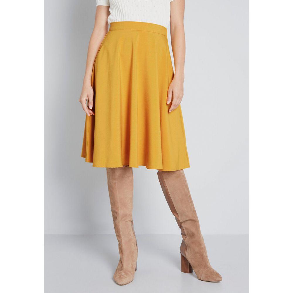 モドクロス ModCloth レディース ひざ丈スカート スカート【Just This Sway A-Line Skirt】mustard