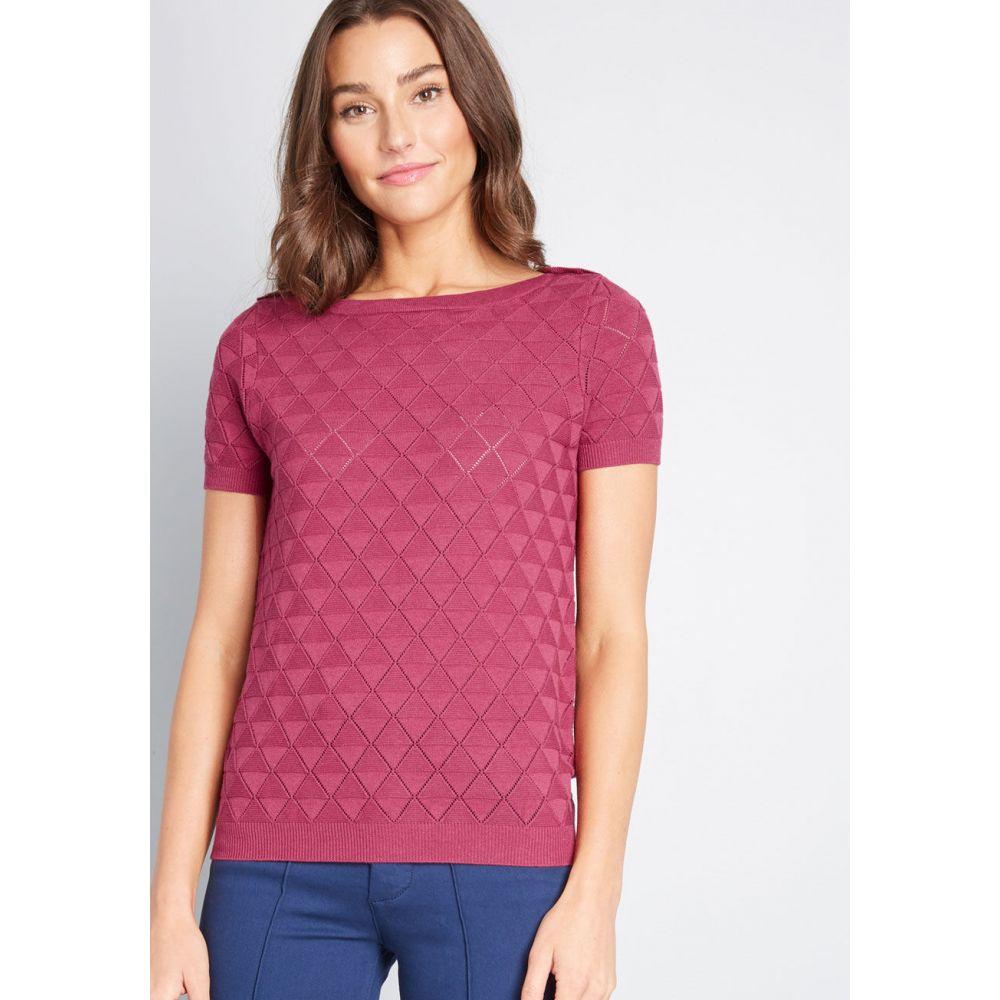 モドクロス ModCloth レディース ニット・セーター トップス【Enhanced Experience Short Sleeve Sweater】purple