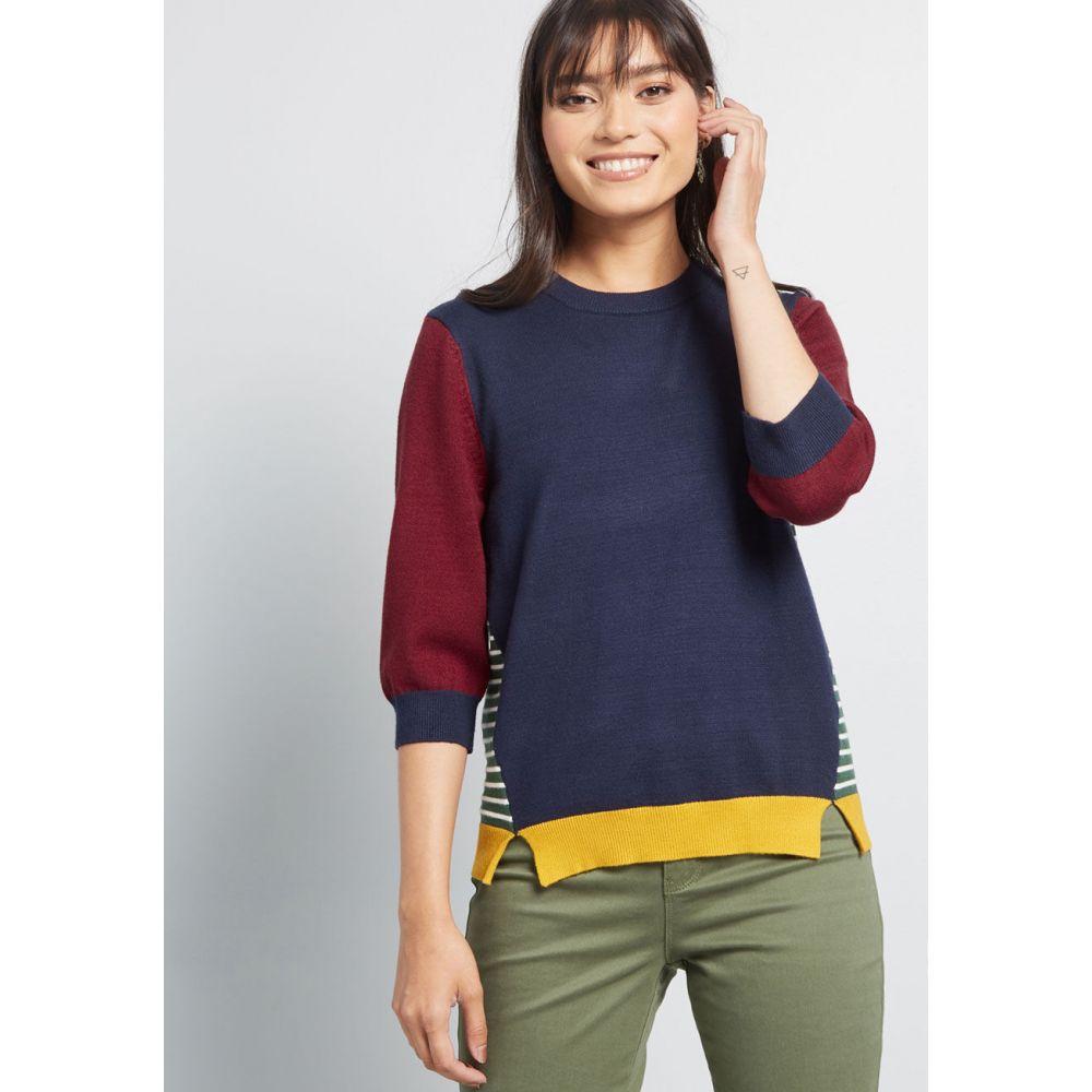 モドクロス ModCloth レディース ニット・セーター トップス【Well-Placed Pep Colorblock Sweater】blue multi
