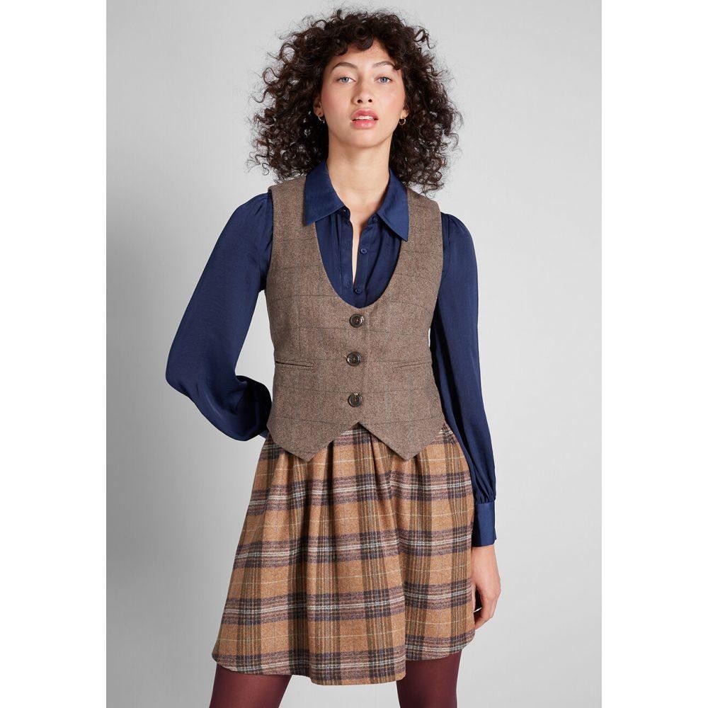 モドクロス ModCloth レディース ベスト・ジレ トップス【Sophisticated Ways Tweed Vest】brown