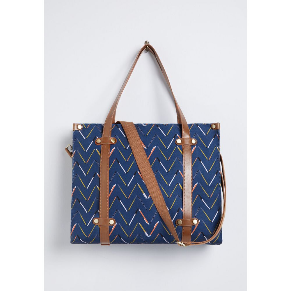 レディース トートバッグ バッグ【Camp Director Zipped Tote】navy pencil print