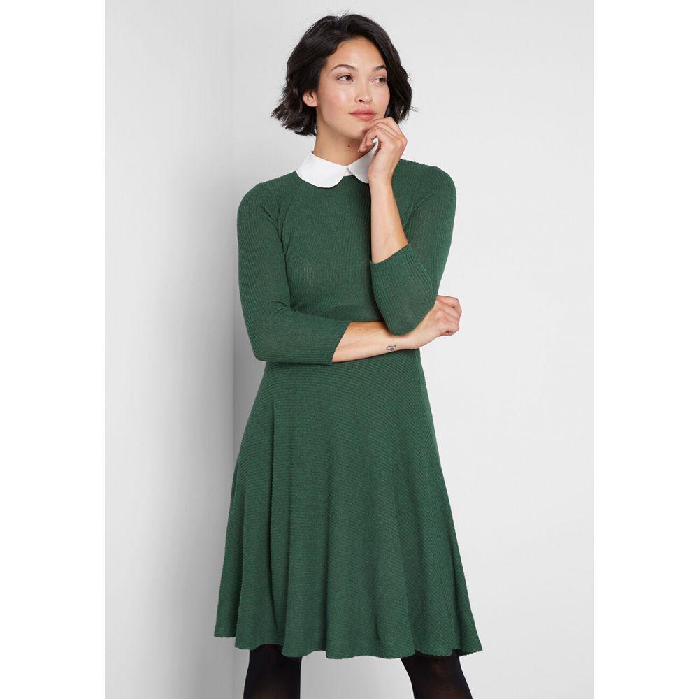 モドクロス ModCloth レディース ワンピース ワンピース・ドレス【Perfectly Proper Knit A-Line Dress】hunter green