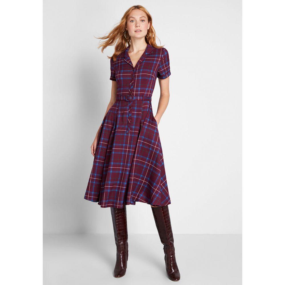 コレクティフ Collectif レディース ワンピース シャツワンピース ワンピース・ドレス【Cherished Era Checkered Shirt Dress】burgundy plaid