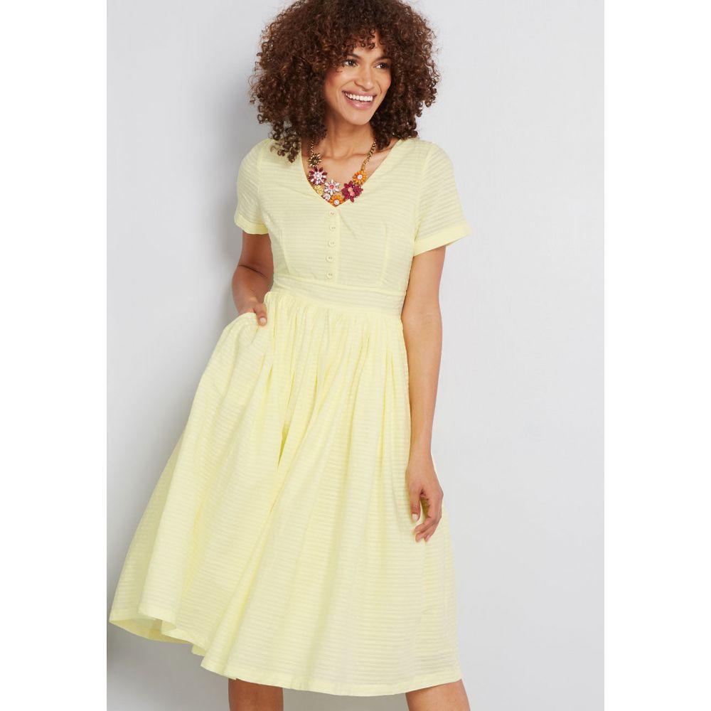 モドクロス ModCloth レディース ワンピース シャツワンピース ワンピース・ドレス【Fabulous Fit and Flare Shirt Dress】yellow