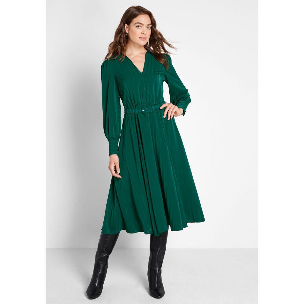 モドクロス ModCloth レディース ワンピース ワンピース・ドレス【Classy Announcement A-Line Dress】green
