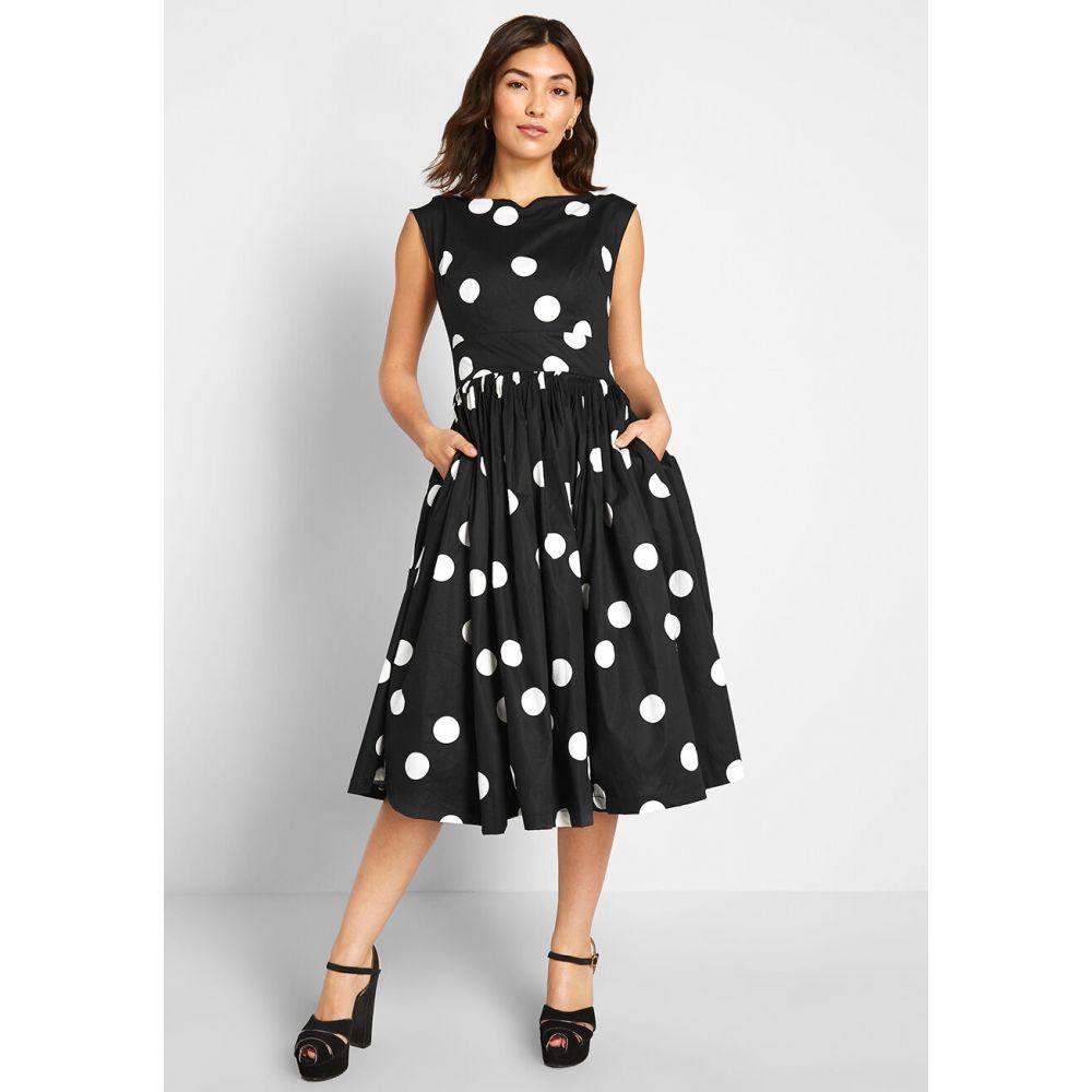 モドクロス ModCloth レディース パーティードレス ワンピース・ドレス【fabulous fit and flare dress】black polka dot:フェルマート