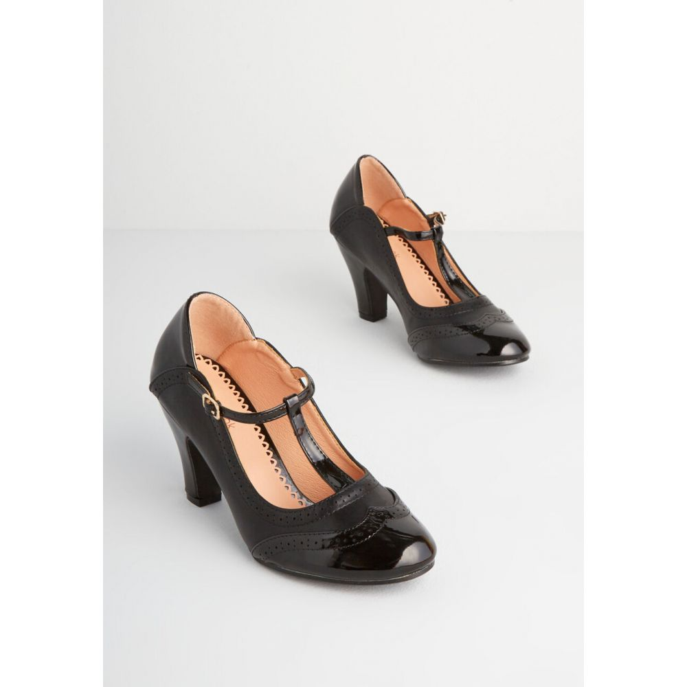 t-strap houndstooth the with バーンド transistor ヒール Banned シューズ・靴【traipsing heel】black レディース