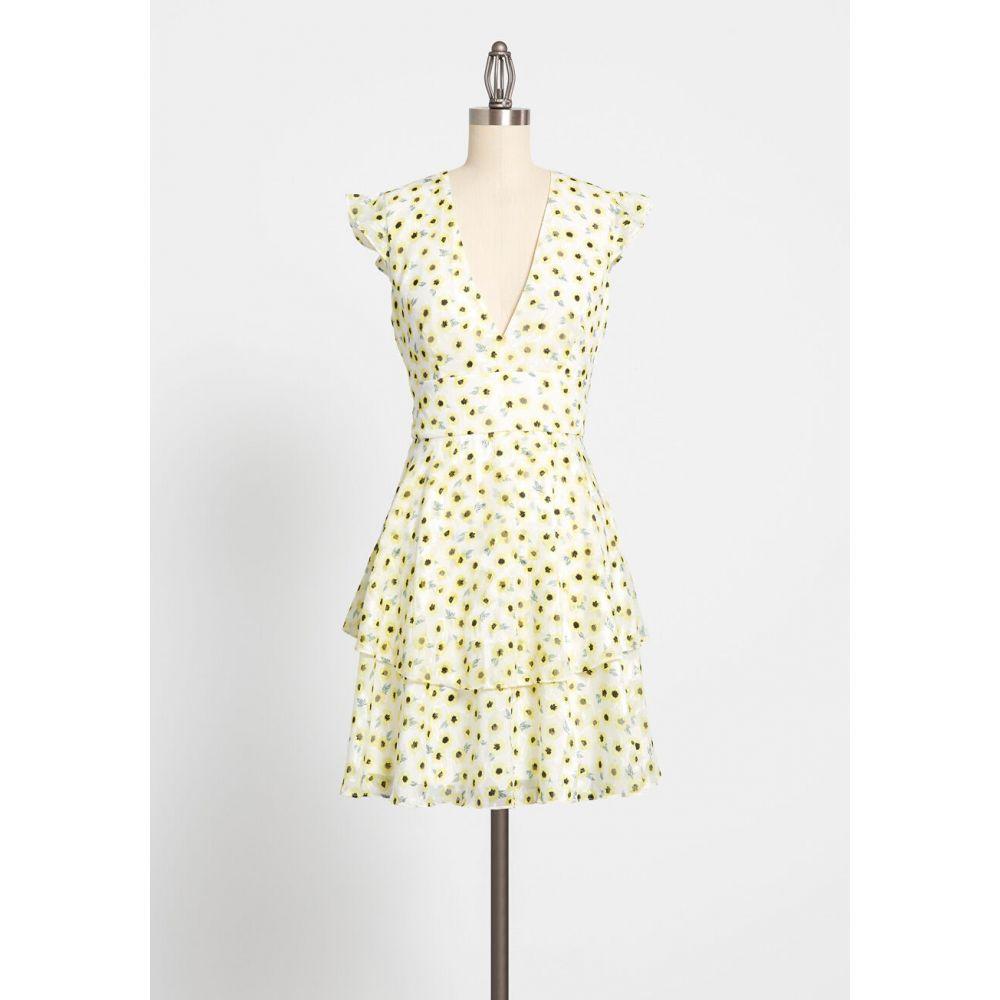 ハッチ Hutch レディース パーティードレス ワンピース・ドレス【florals favor the bold a-line dress】yellow