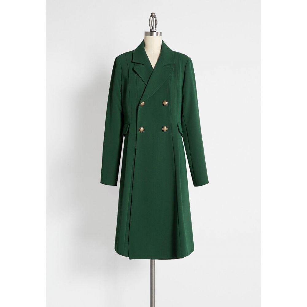 モドクロス ModCloth レディース コート アウター【along for the ride crepe coat】green