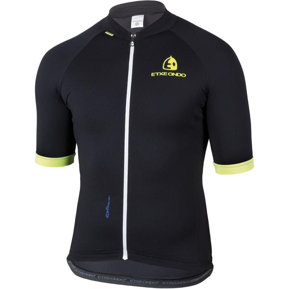 エチェオンド Etxeondo メンズ サイクリング ウェア【Entzun Sport Jersey - Short - Sleeves】Black/Yellow Fluo
