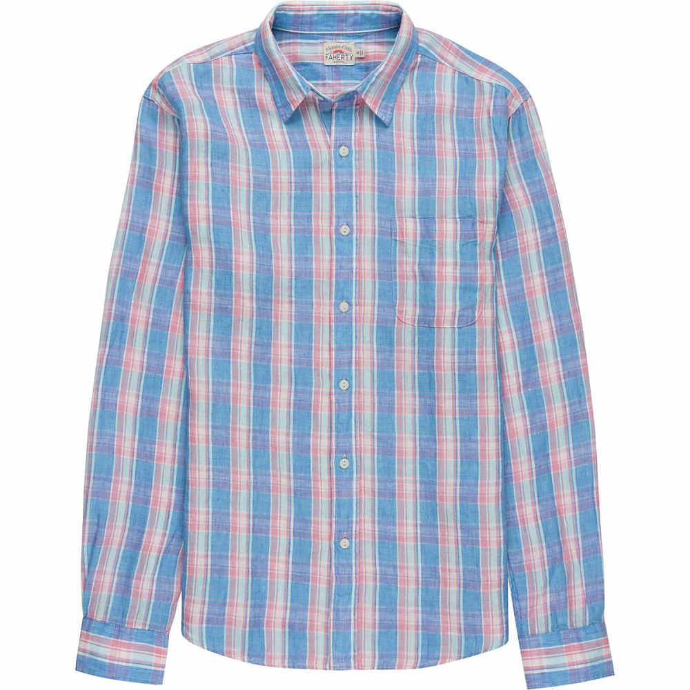 ファレティ メンズ トップス シャツ【Linen Ventura Shirts】Blue Coral Plaid