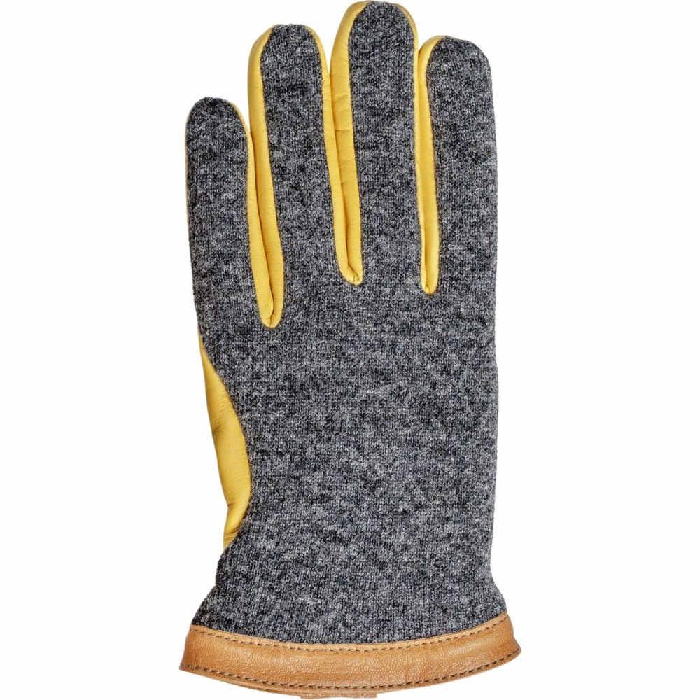 ヘスタ メンズ 手袋・グローブ【Deerskin Wool Tricot Glove】Charcoal/Natural Yellow