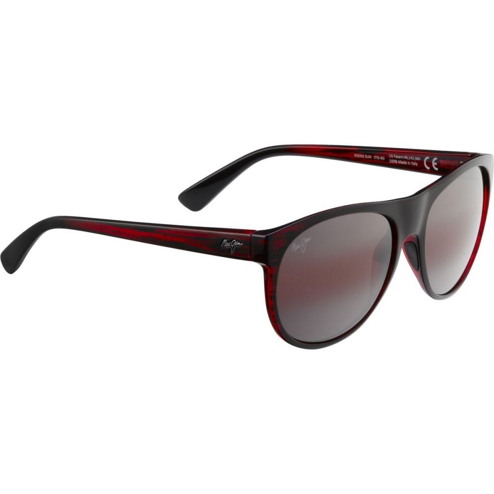 マウイジム レディース メガネ・サングラス【Rising Sun Sunglasses - Polarized】Burgundy Stripe/Maui Rose