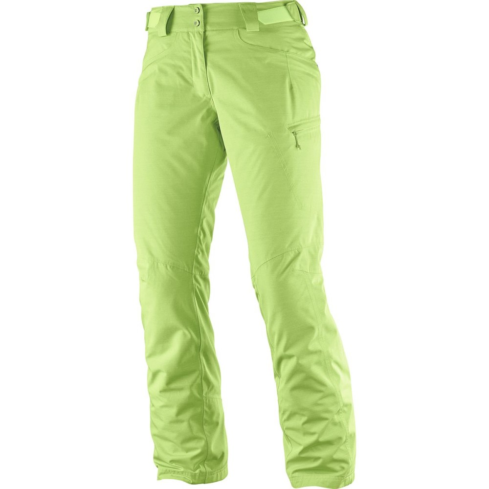 サロモン レディース スキー・スノーボード ボトムス・パンツ【Fantasy Insulated Pant】Acid Lime Heather