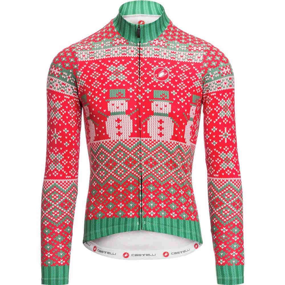 カステリ メンズ 自転車 トップス【Holiday 2017 Sweater Jerseys】Red/Green