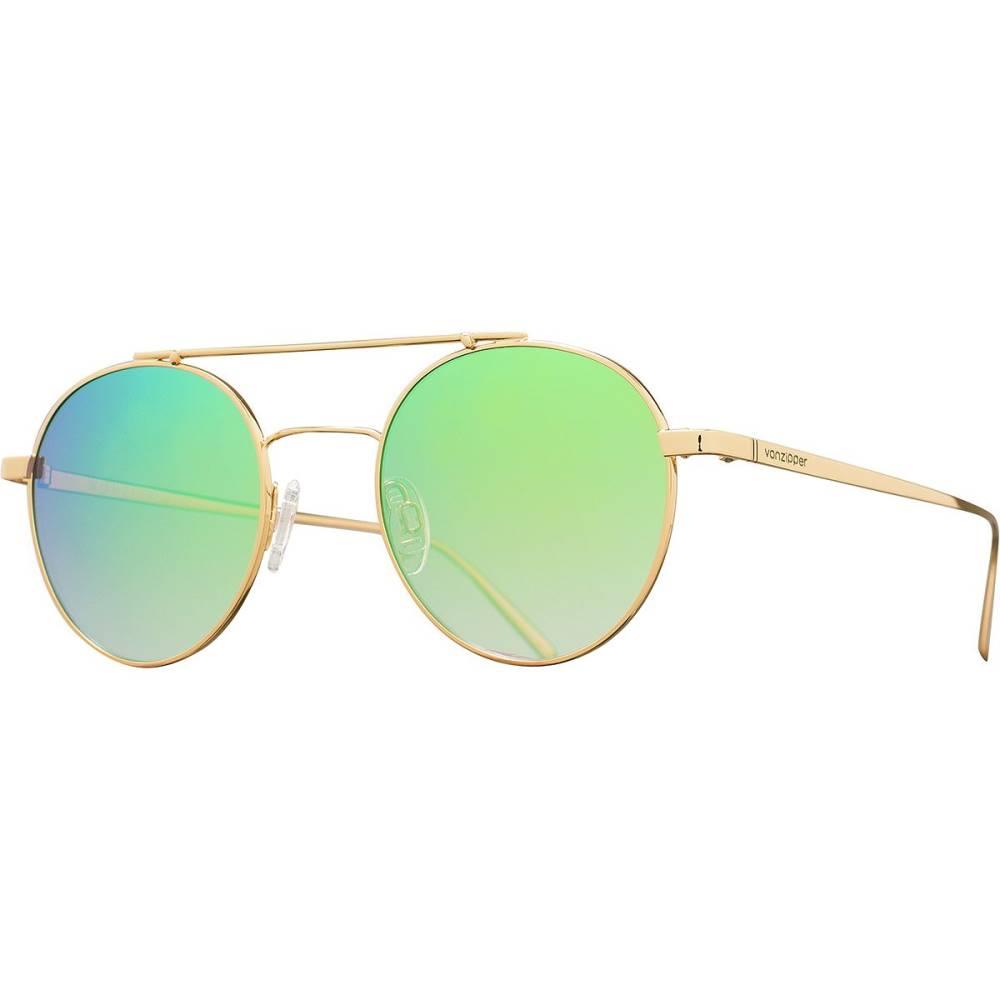 ボンジッパー レディース メガネ・サングラス【Skiffle Sunglasses】Gold/Brown Gradient-Green Chrome