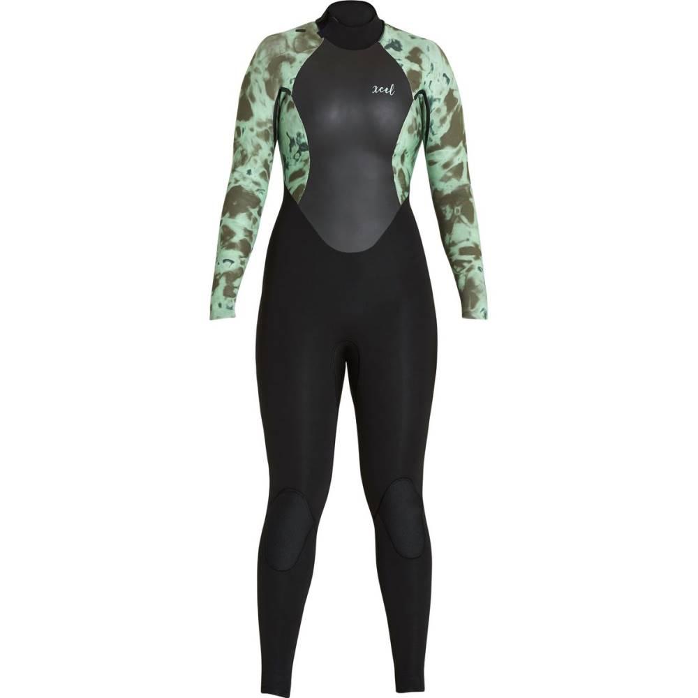 エクセルハワイ レディース 水着・ビーチウェア ウェットスーツ【Axis 3/2 Back - Zip Wetsuit】Black/ Bright Green