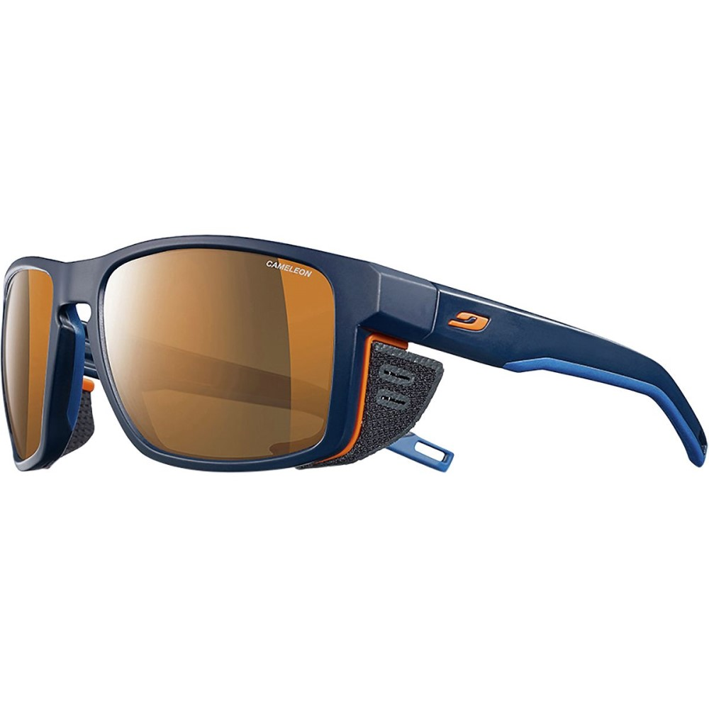 ジュルボ レディース スポーツサングラス【Shield Cameleon Photochromic Sunglasses - Polarized】Blue/Blue/Orange-Cameleon Brown