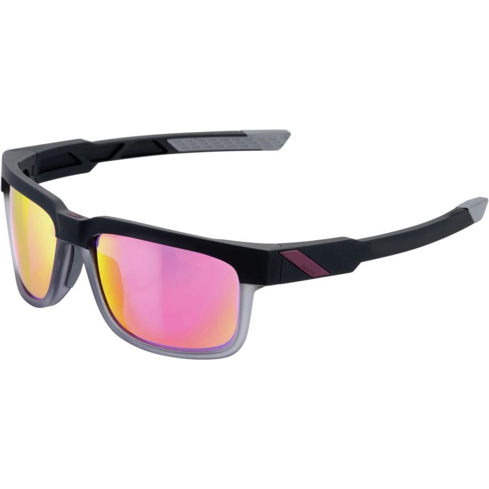 ヒャクパーセント レディース スポーツサングラス【Type - S Sunglasses】Soft Tact Graphite W/Purple Multilayer Mirror Lens
