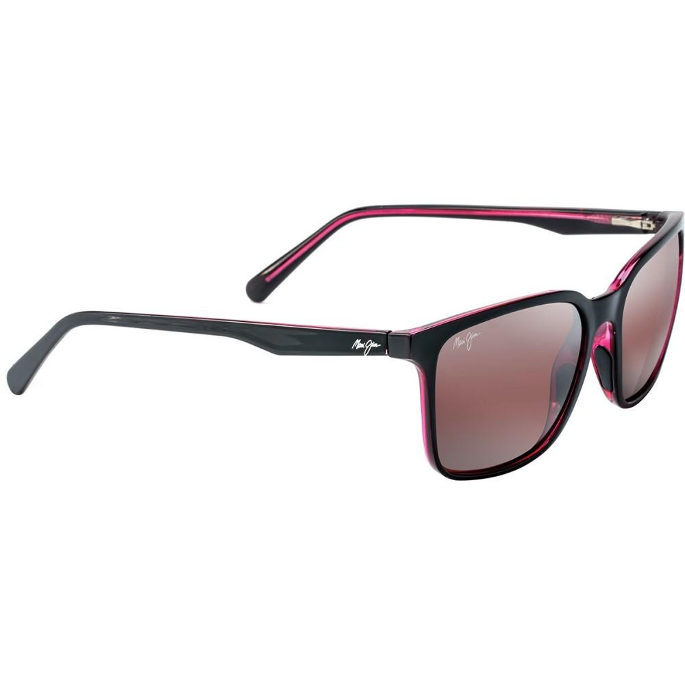 マウイジム レディース スポーツサングラス【Wild Coast Polarized Sunglasses】Black with Red Interior