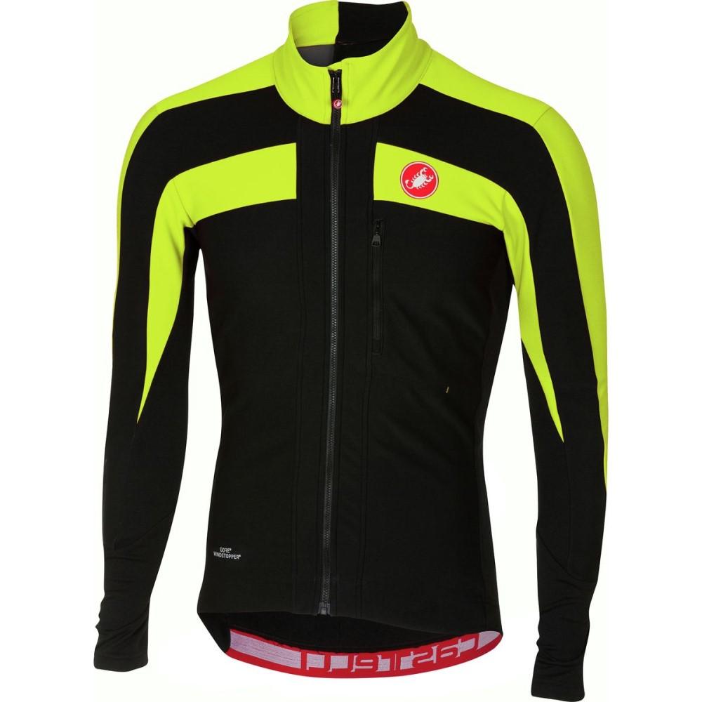 カステリ メンズ 自転車 トップス【Trasparente 4 Long - Sleeve Jerseys】Light Black/Yellow Fluo
