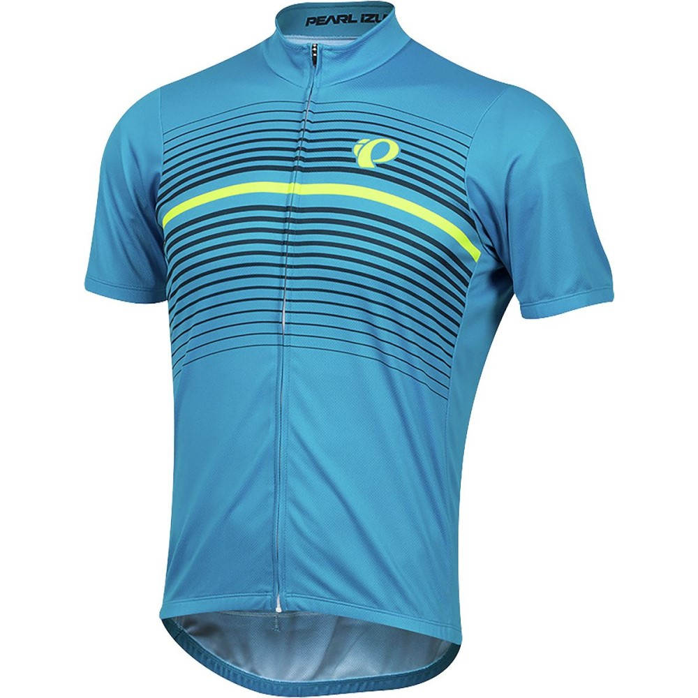 パールイズミ メンズ 自転車 トップス【SELECT LTD Short - Sleeve Jersey】Atomic Blue Diffuse
