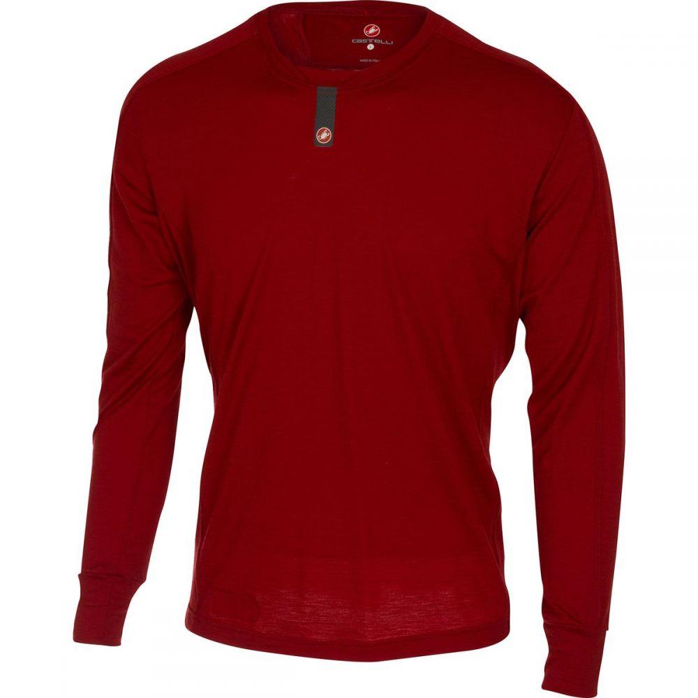 カステリ メンズ 自転車 トップス【Procaccini Wool Long - Sleeve Baselayers】Ruby Red