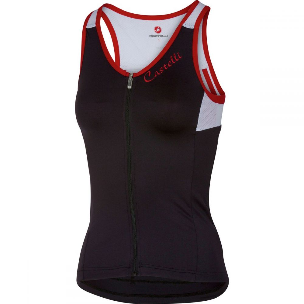 カステリ レディース 自転車 トップス【Solare Jersey - Sleeveless】Black/White/Red
