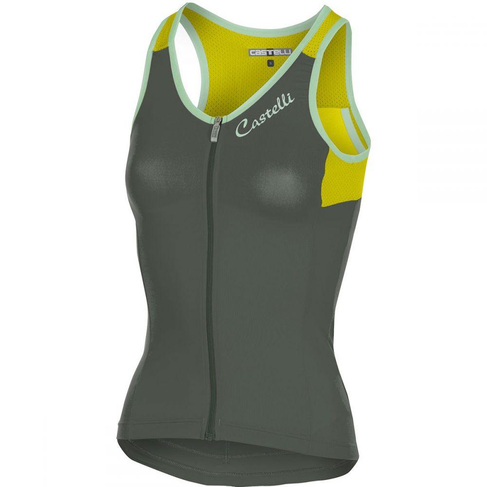 カステリ レディース 自転車 トップス【Solare Jersey - Sleeveless】Forest Gray/Yellow Fluo
