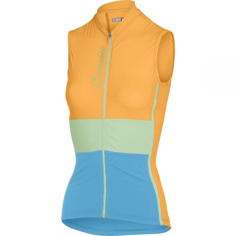 カステリ レディース 自転車 トップス【Protagonista Jersey - Sleeveless】Orange Fluo/Glacier Lake/ Sky Blue