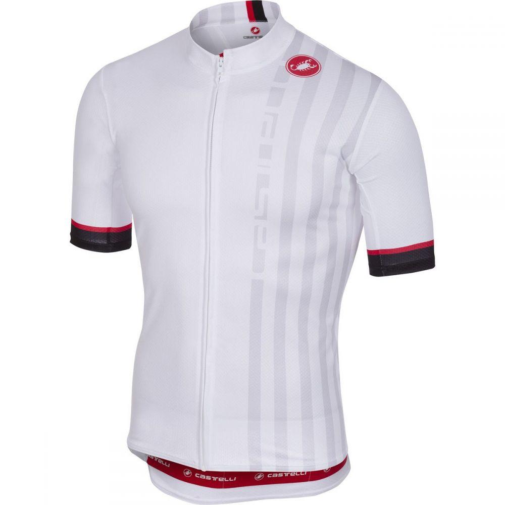 カステリ メンズ 自転車 トップス【Podio Doppio Full - Zip Jerseys】White