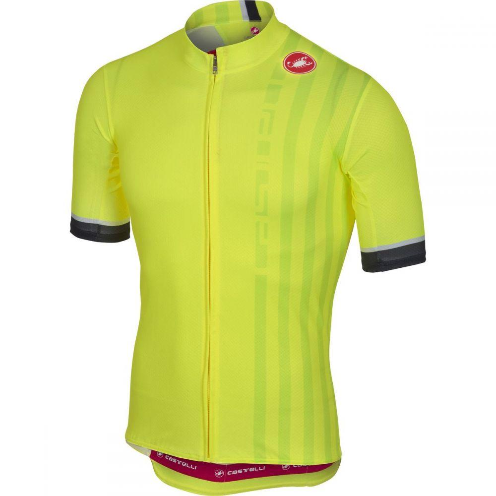 カステリ メンズ 自転車 トップス【Podio Doppio Full - Zip Jerseys】Yellow Fluo